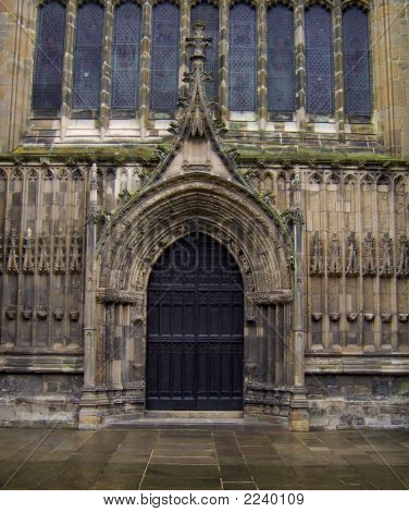 Church Doors With Stain Glass Windows