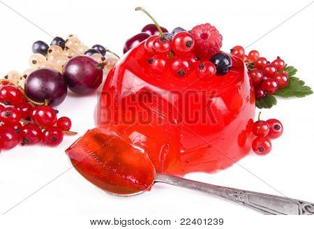 fruit dessert with fresh berries isolated on the white background