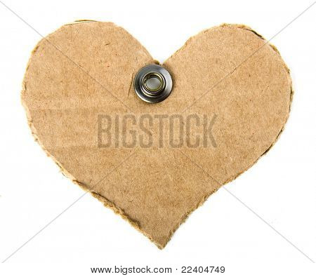 cardboard tag in the form of heart with a metal grommet  isolated on white background