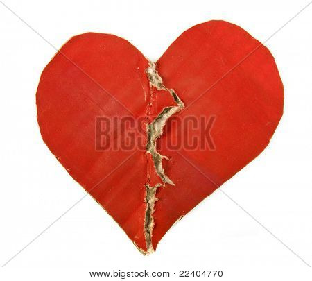 Red Paper Broken Heart isolated on white background