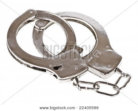 steel metallic handcuffs (manacles) isolated on white background