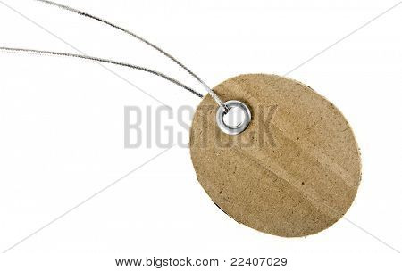 Blank tag with metal grommet isolated on white background