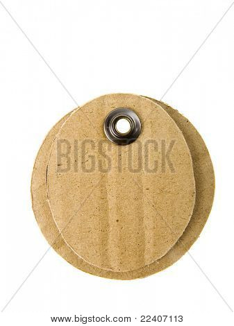 Oval  paper tag isolated on white background