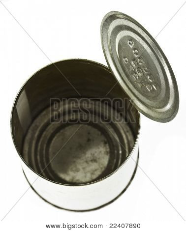empty open tin can isolated on the white background