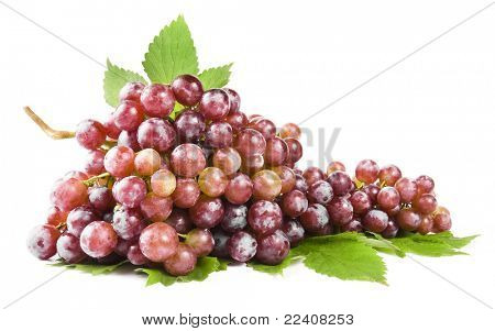 grape with leaves, isolated
