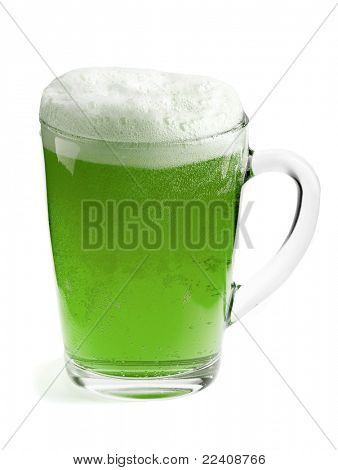 A beer mug of green beer