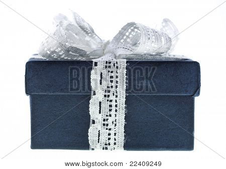 present box with ribbon bow isolated