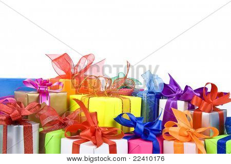 Colorful gift box isolated on a white background with space for your text