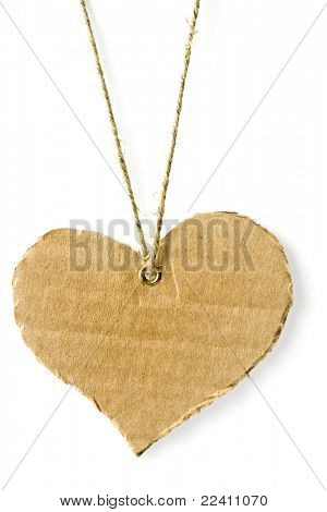 cardboard tag in the form of heart with flax cord