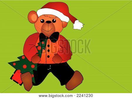 Cute Little Christmas Bear With A Christmas Tree Eps Vector