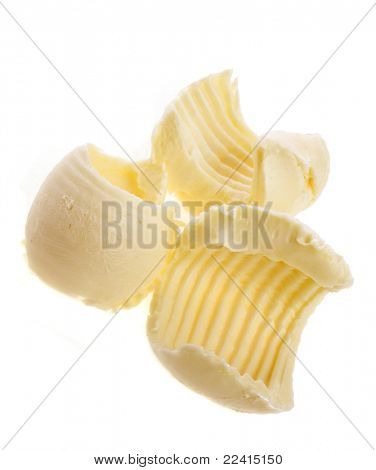 butter curls isolated on white
