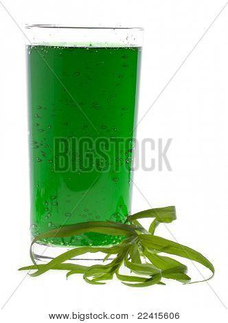 Tarragon drink  isolated on white  estragon