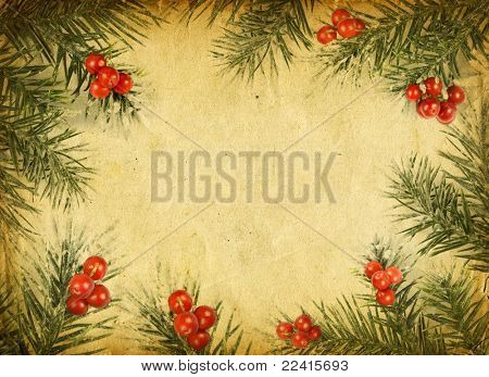 old Christmas card with a place for your text