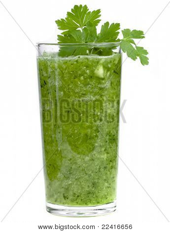 green vegetable smoothie isolated