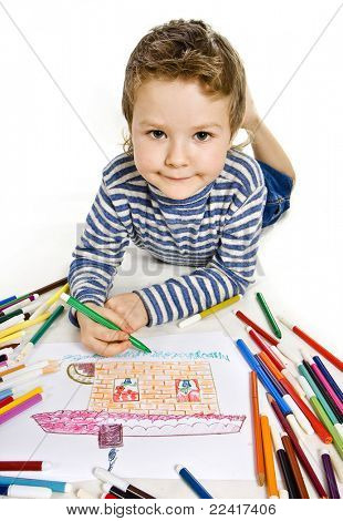cute boy drawing a house , isolated on white background