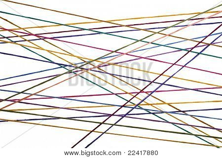 colored thin strained threads isolated on white