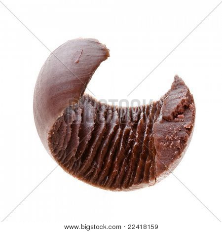 decorative curl chocolate butter isolated on a white