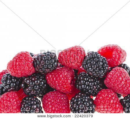 Blackberries ( dewberries) with raspberries on white backgrounds