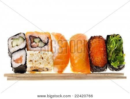 Japanese sushi food and chopsticks isolated