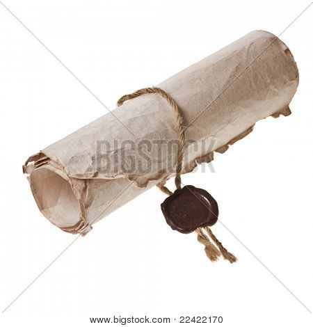 roll old paper with a wax seal on a white background