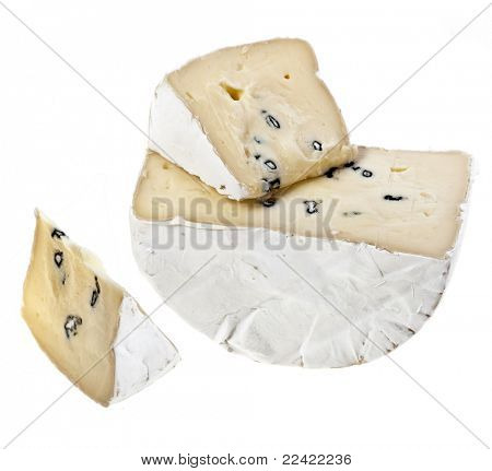 Brie cheese with a white and blue mold isolated on white background