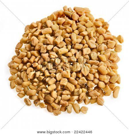 Fenugreek seeds isolated on white