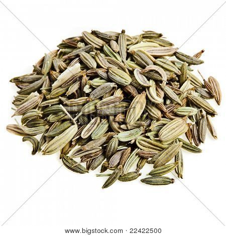 fennel and cumin seed isolated on white