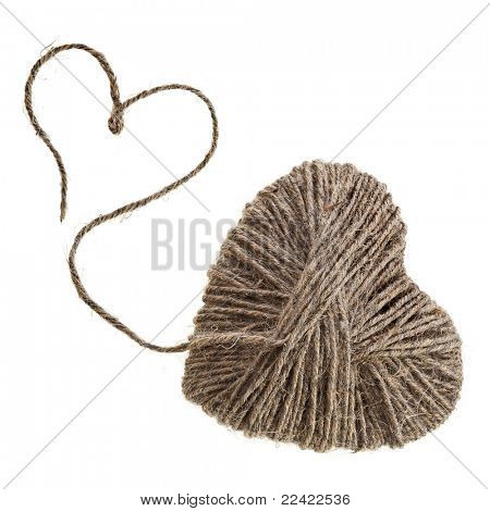 rope hearts isolated on white background