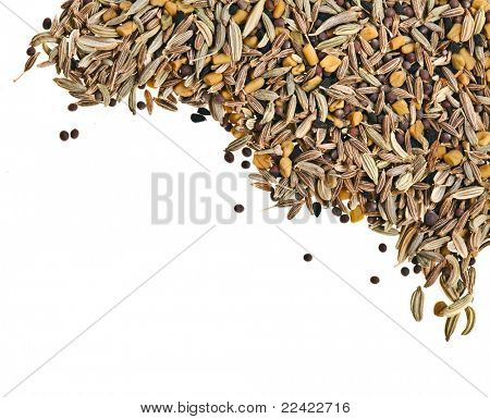 a mixture of Indian spices isolated on white background
