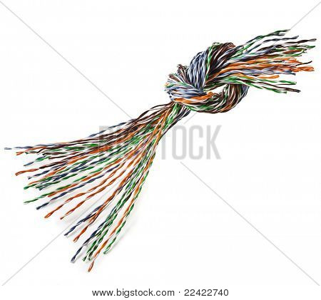 knot colorful  wire isolated on white