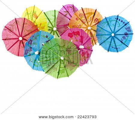umbrellas for cocktails isolated on white