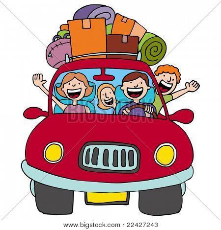 Uma imagem de uma família dirigindo seu carro com bagagem em cima.