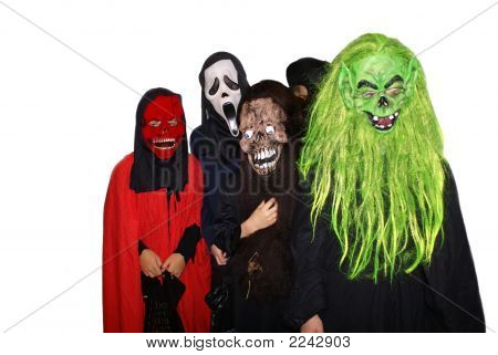 Monsters Of Halloween. Children In Halloween Costumes