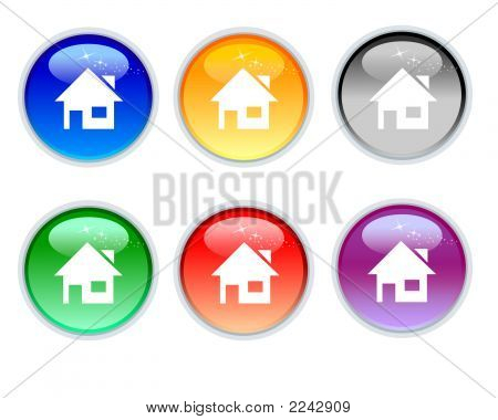 Six Color Crystal Icons Of Home