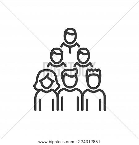 poster of Voters - line design single isolated icon on white background. High quality black pictogram. An image of a group of people standing in three lines. Election, audience concept