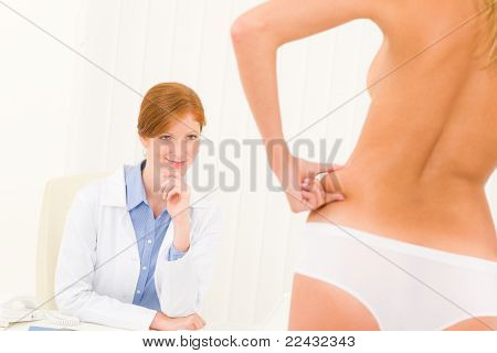 Plastic Surgery Consultation Patient Pinch Hips