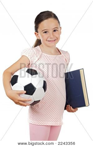 Girl With Soccer Ball And Book