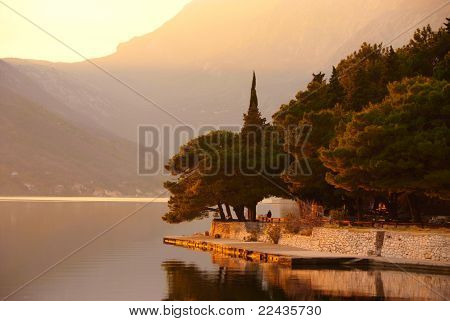 Waterscape With Old Park On Sunset By Perast, Montenegro