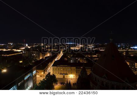 Eastern Aerial View Of Szeged At Night