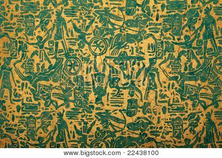 blue golden handmade art paper with tribal print