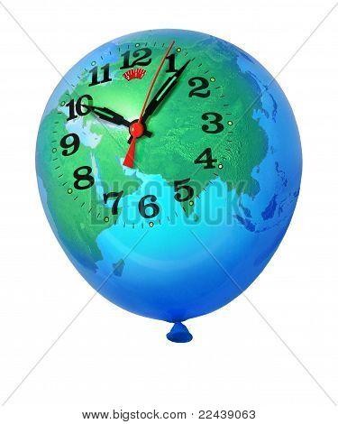 Planet Erde Balloon Clock