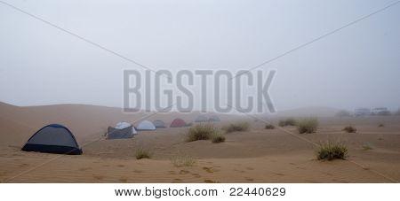 camping on foggy desert - Mauritanian Sahara Desert
