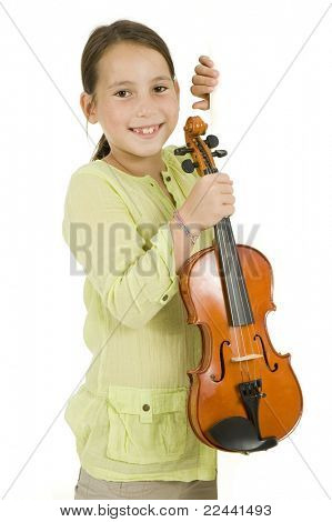 young girl with violin on a white banner