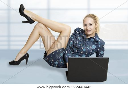 Cute Sexy Woman With Laptop Computer