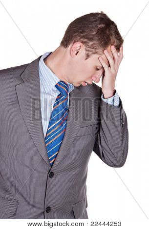 blonde caucasian man, worried expression, isolated on white