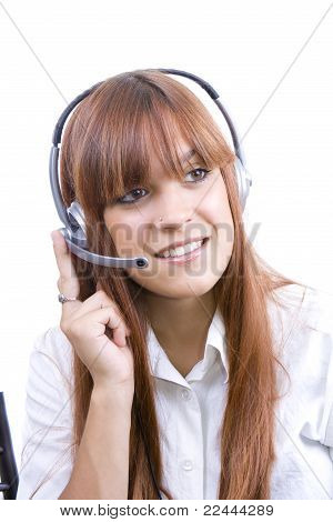 Cheerful young phone operator