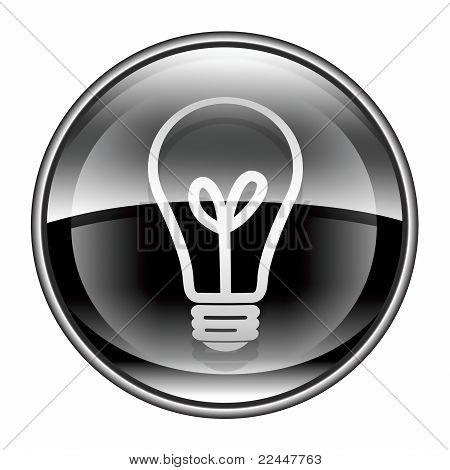 Light Bulb Icon Black, Isolated On White Background