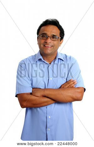 indian latin businessman with glasses and blue shirt isolated on white