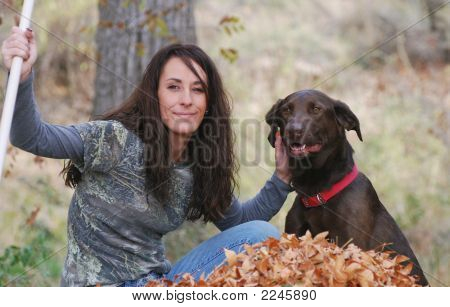 Young Woman With Brown Dog
