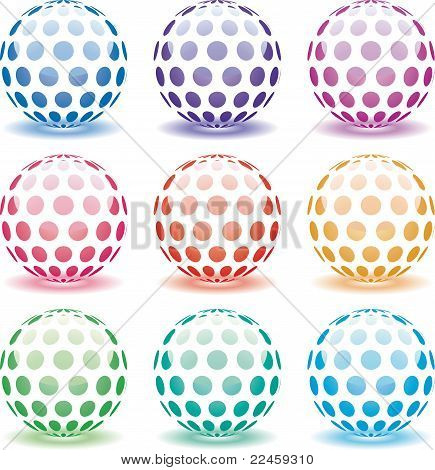 Set Of 3D Shiny Globes